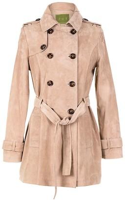 Zut London Suede Leather Short Trench Coat - Beige
