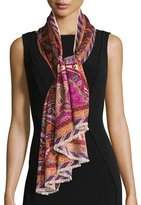 Etro Paisley Wool-Blend Scarf, Coral/Plum