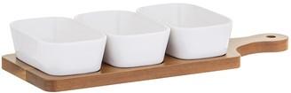 Davis & Waddell Loft Porcelain Dishes with Acacia Paddle 4-Piece Set