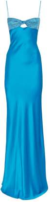 Alessandra Rich Silk Bustier Crystal-Embellished Gown