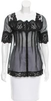 Anna Sui Semi-Sheer Lace-Trimmed Blouse