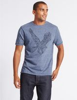 Marks and Spencer Cotton Rich Printed Crew Neck T-Shirt