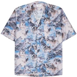 Rhude Wolf-print cotton shirt