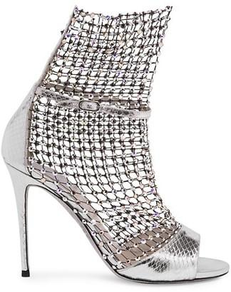 Rene Caovilla Galaxia Crystal Mesh Ayers Metallic Leather Sandals