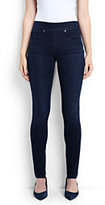 Lands' End Women's Tall Mid Rise Pull On Skinny Jeans-Blue Lagoon Wash