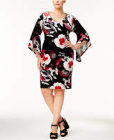 NY Collection Petite Plus Size Printed Velvet Dress