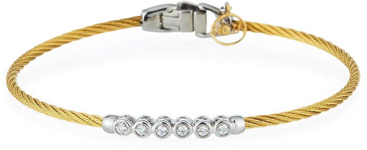 Alor Cable & 6-Diamond Bezel Bracelet Golden