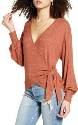 ALL IN FAVOR Bishop Sleeve Hacci Knit Wrap Top