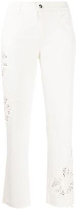 Ermanno Scervino Rhinestone-Embellished Straight-Leg Jeans