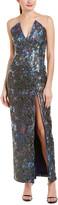 Elie Tahari Adelphie Leather-Trim Gown