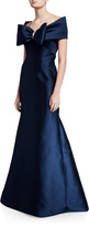 Rickie Freeman For Teri Jon Off-the-Shoulder Stretch Gazar Trumpet Gown with Bow