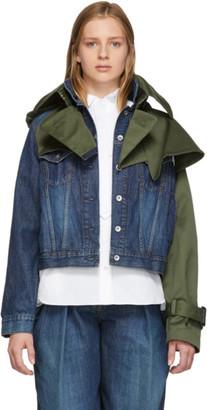 Sacai Blue and Khaki Denim and Twill Hybrid Jacket