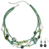 JCPenney Blue & Green 4-Row Necklace & Earrings Set