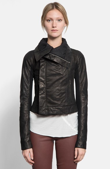 Rick Owens Women's Classic Calfskin Leather Biker Jacket