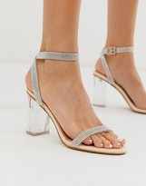clear Simmi London Kimana embellished sandals with heels