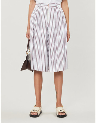See by Chloe High-rise striped cotton shorts