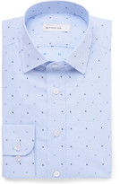 Etro Slim-fit Paisley-embroidered Gingham Cotton Shirt - Blue