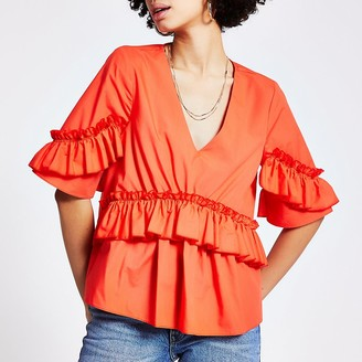 River Island Orange frill short sleeve poplin top