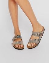 Birkenstock Arizona Shiny Snake Print Narrow Fit Flat Sandals