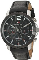 Tommy Hilfiger Men's Quartz Stainless Steel and Leather Automatic Watch, Color:Black (Model: 1791268)