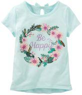 """Osh Kosh Girls 4-8 Be Happy"""" Glitter Graphic Tee"""