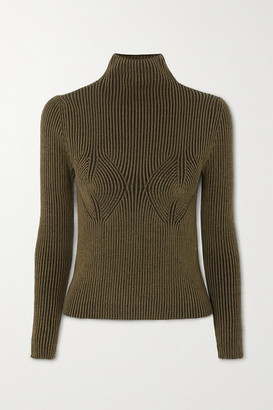 Mara Hoffman Net Sustain Mida Ribbed Stretch-modal Turtleneck Sweater - Army green