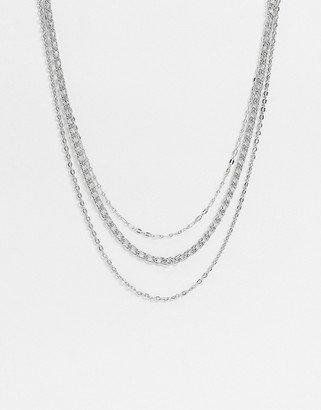 Topshop multirow necklace in silver chain