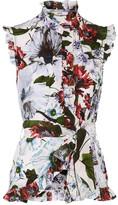 Erdem Maha Ruffled Floral-print Silk Crepe De Chine Top - White