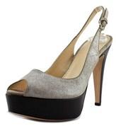 Rogue Crosta Brlliant Peep-toe Leather Slingback Heel.