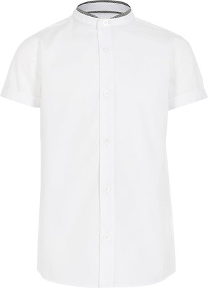 River Island Boys white stand up check collar shirt