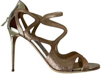 Jimmy Choo Lance Gold Leather Sandals