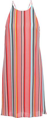 Alice + Olivia Kalia Striped Crepe De Chine Halterneck Mini Dress