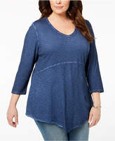 Style&Co. Style & Co Plus Size Washed Handkerchief-Hem Top, Created for Macy's
