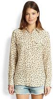 Equipment Slim Signature Silk Animal-Print Shirt