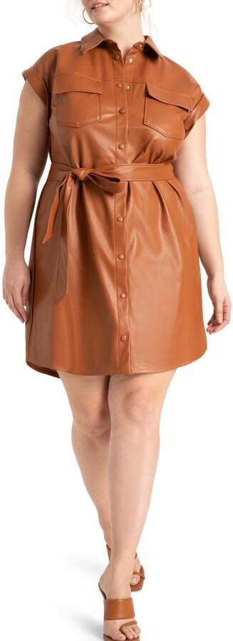 ELOQUII Faux Leather Shirtdress