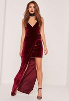 Missguided Burgundy Velvet Strappy Side Split Maxi Dress