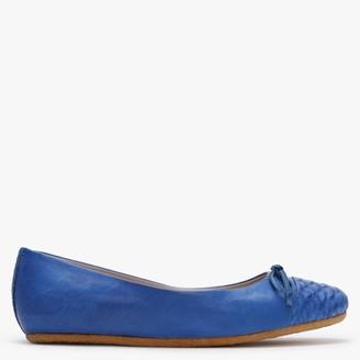 Graceful Shoes Graceful Gudule Blue Leather Reptile Toe Cap Ballet Pumps
