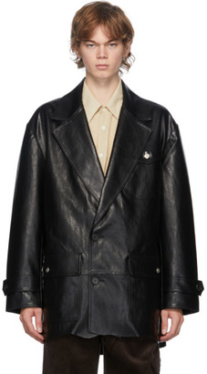ANDERSSON BELL Black Vegan Leather Raw-Cut Jacket