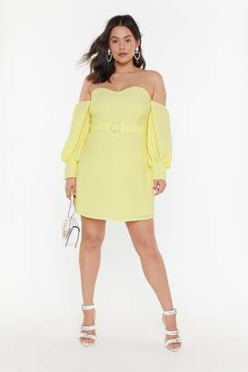 Nasty Gal Womens Keep Your Hands Off-the-Shoulder Plus Mini Dress - yellow - 16