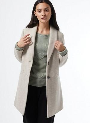 Dorothy Perkins Womens Dp Petite Grey Shawl Collar Coat, Grey