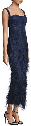David Meister Embellished Feather-Accented Gown