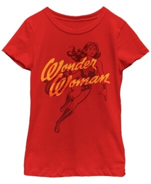 Fifth Sun Dc Comic's Big Girl's Wonder Woman Outline Short Sleeve T-Shirt