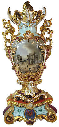 One Kings Lane Vintage Old Paris Porcelain Vase - C. 1835 - Stucco Mansion Antiques - pale blue/gold/magenta/multi