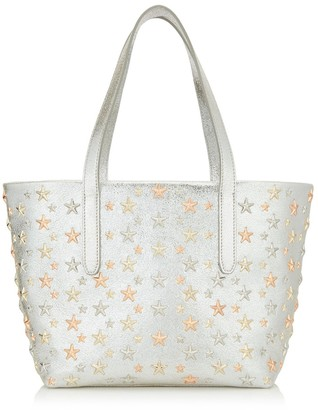 Jimmy Choo SOFIA/S Champagne Glitter Leather Tote Bag with Rose Gold Metallic Mix Multimetal Stars