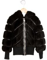 Armani Junior Girls' Hooded Faux Fur Jacket