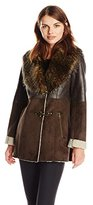 Jessica Simpson Women's Faux Shearling Coat with Faux Fur Collar