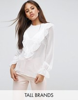 Y.A.S Tall Long Sleeve Ruffle Front Blouse