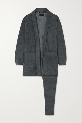 DKNY Fleece Cardigan And Track Pants Set - Gray