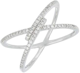 Carriere Sterling Silver Pave Diamond Crossover Ring - 0.20 ctw