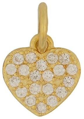 Mocha Sterling Silver Cubic Zirconia Heart Charm - Light Gold